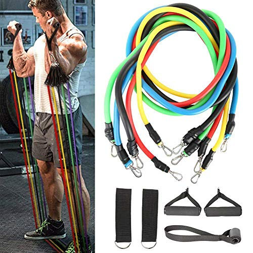 Exercise Resistance Bands Set – MSAO Strength Training Resistance Bands Stretch Workout Bands 11PC with Fitness Tubes…