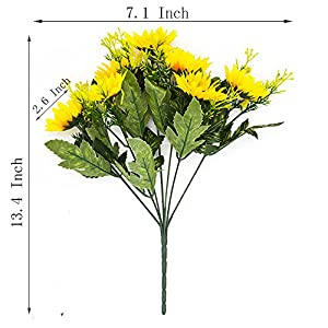 YISNUO Artificial Flowers, Fake Sunflowers Silk Flowers Table Centerpieces Arrangements Home Indoor Decorations Wedding Party Decor 4