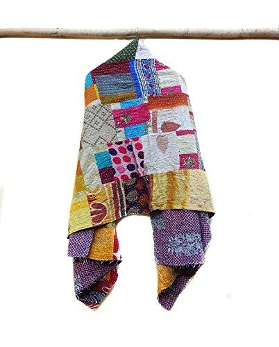 Kantha Cotton Scarf Reversible White Paisley Neck Wrap Stole Shawls Dupatta patchwork