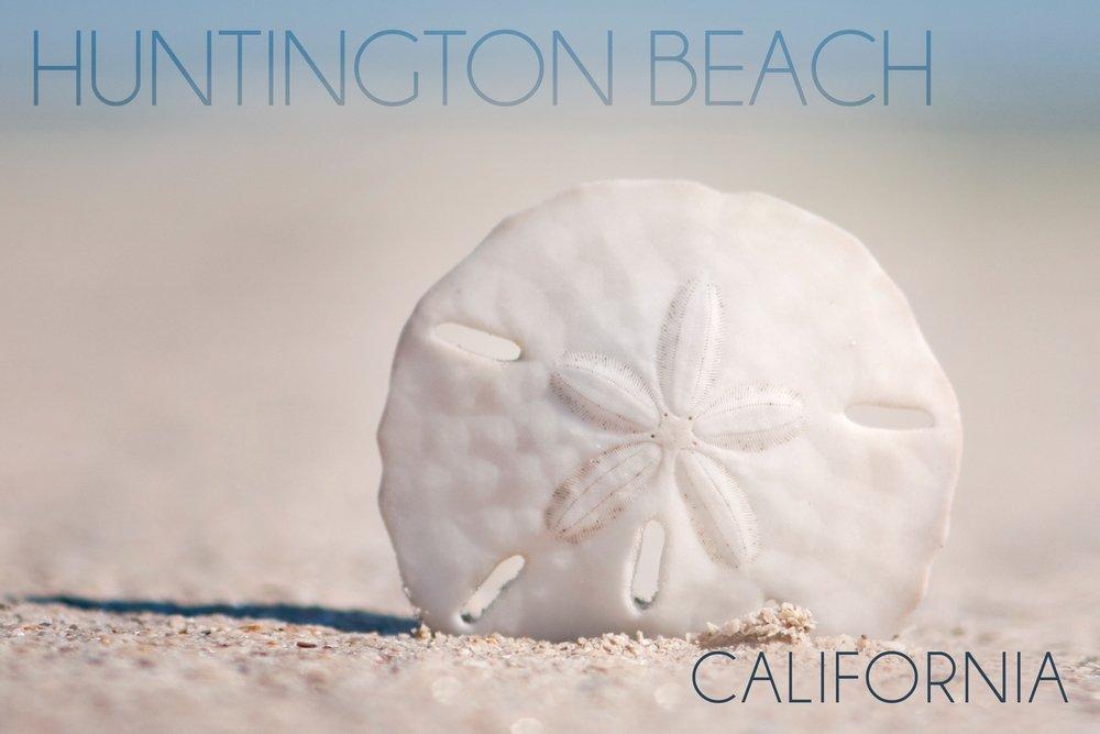 Huntington Beach , California – 砂ドルとビーチ 36 x 54 Giclee Print LANT-54858-36x54 B017E9VERM  36 x 54 Giclee Print