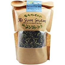 100% Organic Dried Pure Butterfly Pea Flowers 1.60 Oz. (50 g.) Herbals Blue Tea, All Natural Ingredients, Nontoxic, GMO-Free, Safe and Healthy in Zipper Packaging and Get Free a Wooden Spoon by FBA