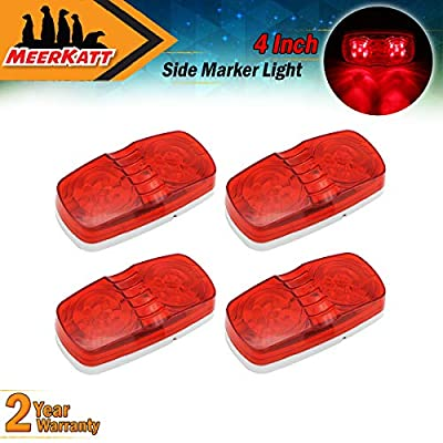 Meerkatt (Pack of 4) Red Marker LED Indicator Lights 10 Diodes Double Bullseye Super Bright Clearance Lamp Heavy Duty Sealed Bulb Camper SUV Truck Bus Cabin ATV Trailer Pickup 12V DC Dust Proof RO12: Automotive