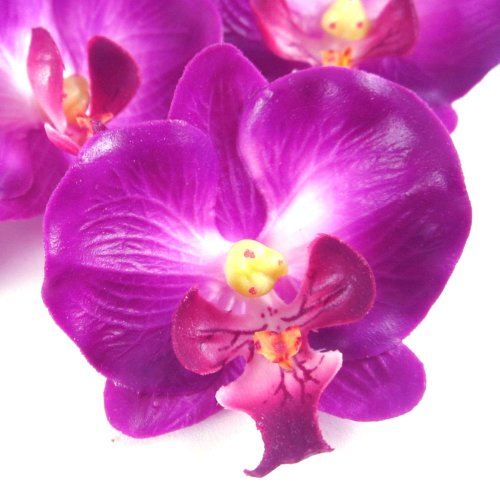 (12) Small Purple Phalaenopsis Orchid Silk Flower Heads - 2
