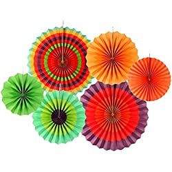 CRJHNS Hanging Paper Fan Decorations,Mexican Party Decorations, Colorful Round Paper Fan Garlands for Fiesta Party Birthday Wedding Events Home Decoration, Set of 6 (Rainbow)