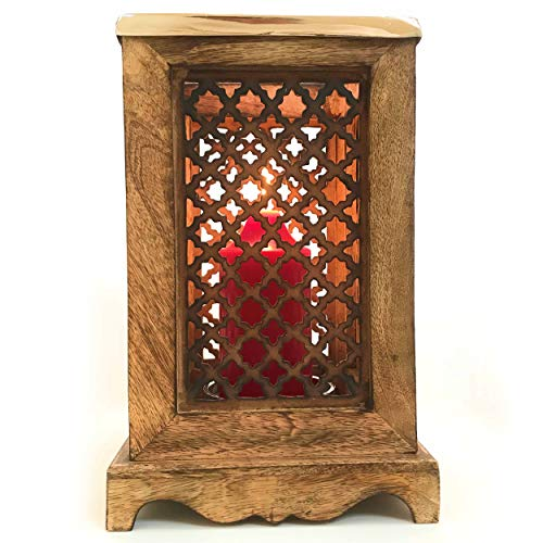 - WHW Whole House Worlds Grand Tour Temple Lantern, Hurricane Wind Light, Artisan Carved Lattice, Mango Wood, Glass Sleeve, Candle Dish with Spike, Approx 1 Ft Tall (11 3/4 Inches) Morocco Collection