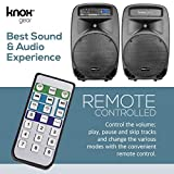 "Knox Dual 15"" Speakers, 600 Watt - 8 Piece Portable PA System - Microphone, Tripods, Remote Control - Bluetooth, USB, SD Card, RCA and 1/4"" Inputs - Colorful LED Lights"