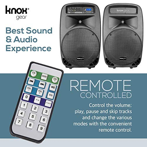 Knox Dual 15'' Speakers, 600 Watt - 8 Piece Portable PA System - Microphone, Tripods, Remote Control - Bluetooth, USB, SD Card, RCA and 1/4'' Inputs - Colorful LED Lights by Knox Gear (Image #2)