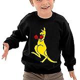 Puppylol Kangaroo Boxer Kids Classic Crew-neck Pullover Hoodie Black