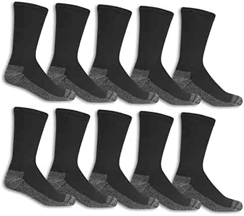 Fruit of the Loom Men's Cotton Work Gear Crew Socks | Cushioned, Wicking, Durable | 10 Pack