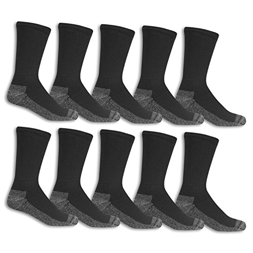 Fruit of the Loom Men's 10 Pack Everyday Work Crew Socks, Black , Shoe Size: 6-12 (Sock Size: 10-13)