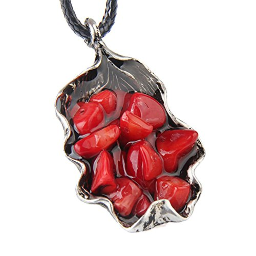 Jili Online Vintage Fashion Ethnic Popular Gorgeous Coral Stone Sliver Alloy Hot Wax Weave Black Handmade Long Sweater Chain Necklace - Red (Black Weave Necklace)
