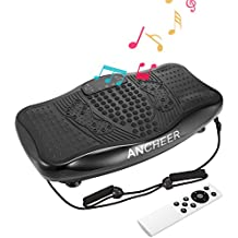 Ancheer USB Speaker Fitness Message Vibration Plate Whole Full Body Shaped Workout Exercise Platform Machine with Remote Control & Two Resistance Bands