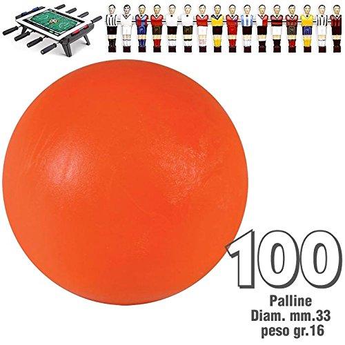 Renzline by Longoni Calcio Balilla Set di 100 Palline Standard HS Colore Arancio per Calcetto Diametro mm.33, Peso gr.16.