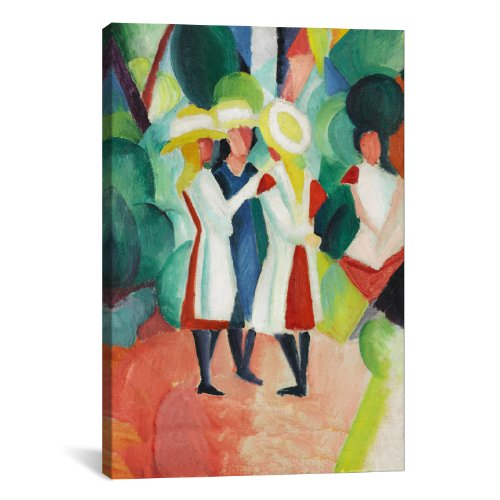 iCanvasART Three Girls in Yellow Straw Hats by August Macke Canvas Art Print, 26 by 18-Inch ()
