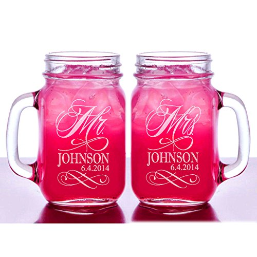 Stocking Factory Custom Etched Mr. Mrs. Personalized Mason Mugs, Set of 2, Clear