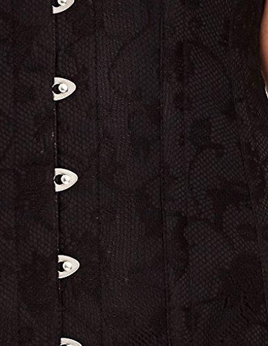 Mio Corset Flora Black Satin Corset with Lace Overlay AIC-01-6
