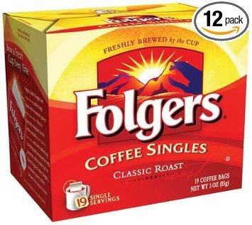 Folgers Coffee Singles - 19 packets per box, 12 boxes per case by Folgers