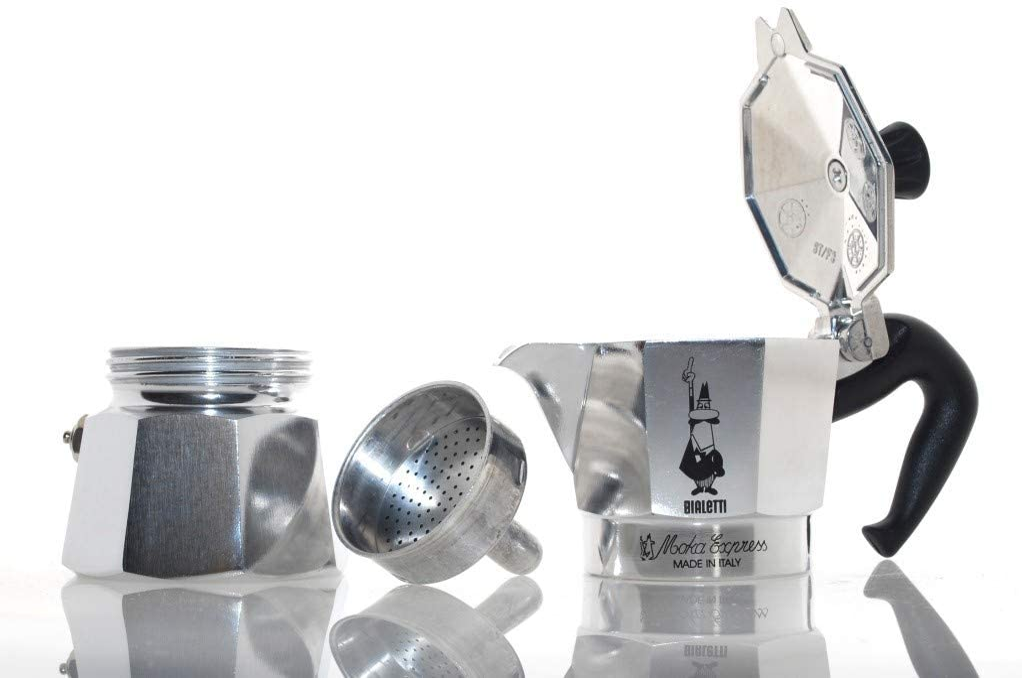 Original Bialetti 12-Espresso Cup Moka Express Espresso Maker Machine and Zonoz Wooden Small Espresso Stirring Spoon Bundle 12-cup, 25 fl oz, 775 ml