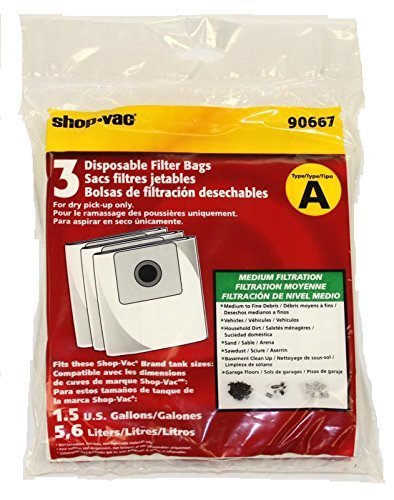 Shop Vac 1.5 Gallon, Vacuum Cleaner Paper Bags 3PK # 9066700, 90667 by Shop Vac