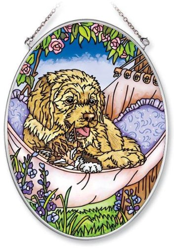 Amia Hand Painted Glass Suncatcher with Home is Where The Dog is Design 5-1//4-Inch by 7-Inch Oval