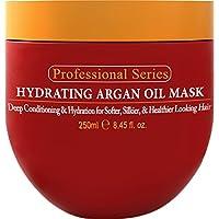 Mascarilla capilar hidratante de aceite de argán y acondicionador profundo por Arvazallia para cabello seco o dañado - 8.45 Oz