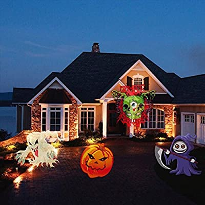 Christmas Projector Light, NAKO LED Christmas Light with 16 Interchangeable Slides Landscape Snowflake Spotlight Waterproof with Remote Control for Christmas/Halloween/ (Black)