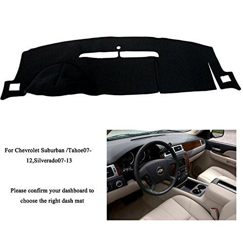 Fly5D Dashboard Mat Sun Cover Carpet Car Interior DashMat for Chevrolet (Chevy Silverado LTZ 2007-2013, Black)
