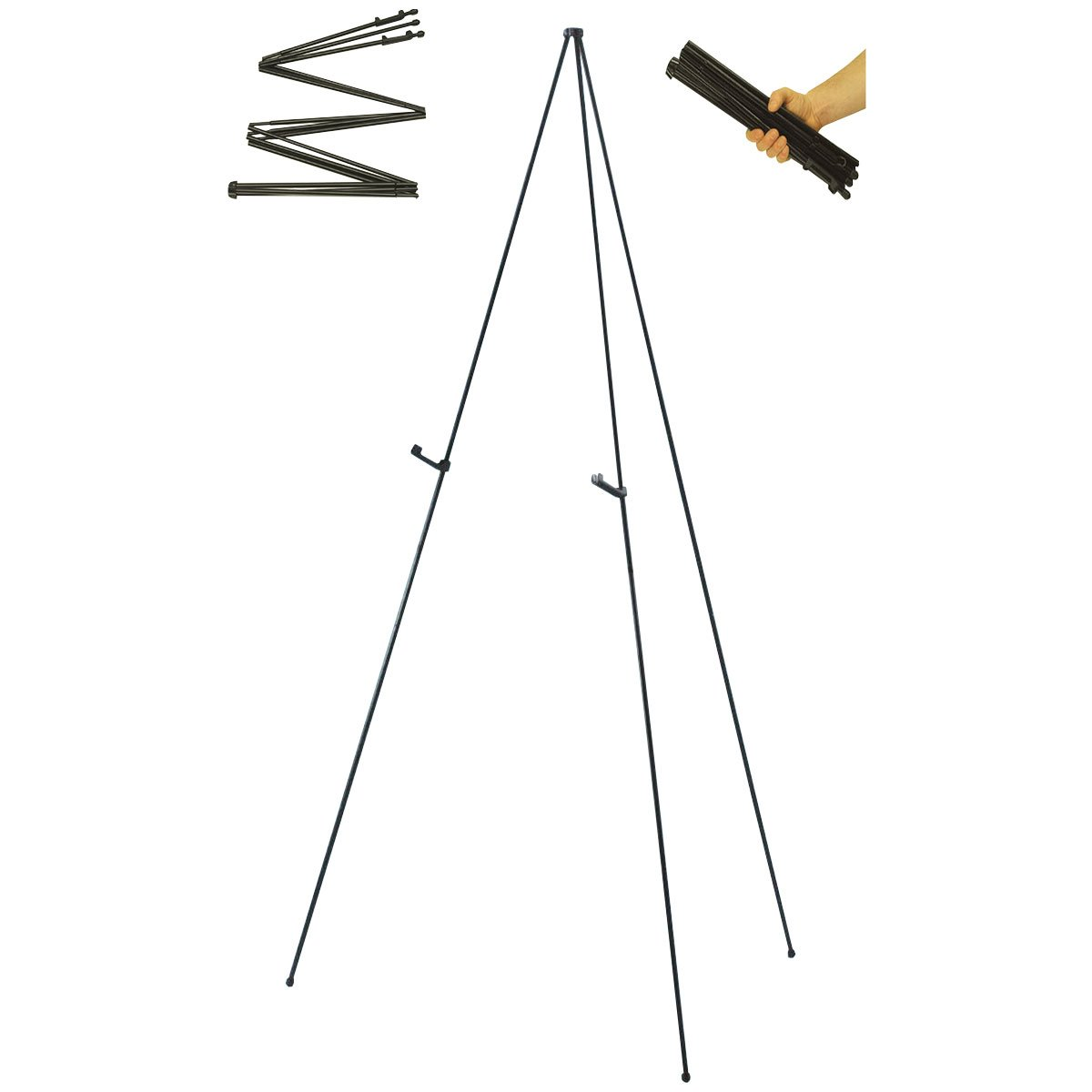 US Art Supply''Easy-Folding Easel'' Black Steel 63'' Tall Display Easel by US Art Supply