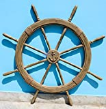 Antique Rustic Brown Vintage Nautical Ship Wheel | Pirate's Aged Gift Decor | Nagina International (48 Inches)