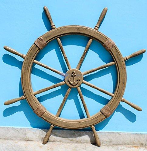 Antique Rustic Brown Vintage Nautical Ship Wheel | Pirate's Aged Gift Decor | Nagina International (48 Inches) by Nagina International