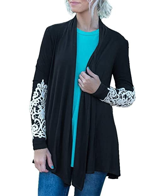 Image Unavailable. Image not available for. Color  MIROL Women s Casual  Fall Long Sleeve Solid Color Lace Open Front Cardigan Coat Long Sweater 95ca60a46