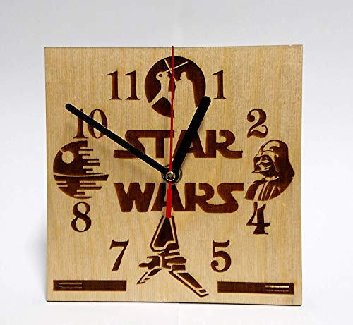 STAR WARS MOVIE Characters Handmade WOODEN DESK Clock HANDCRAFTED 6.7 inches / 17cm made from Wood best decor for your kids bedroom Darth Vader Luke Skywalker gift for kids STAR WARS Table CLock