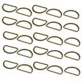 uxcell 35mm Inner Width Zinc Alloy Flat Typed D Welded Ring Bronze Tone 25pcs