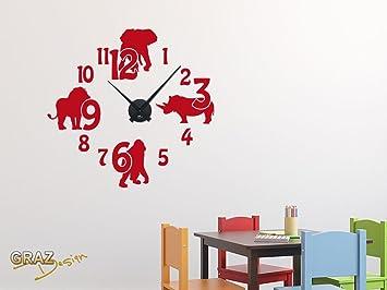 Amazonde Graz Design Wandtattoo Uhr Mit Uhrwerk Wanduhr