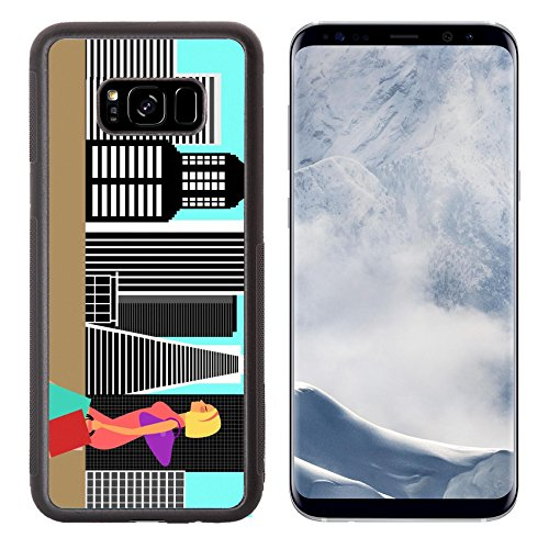 Liili Premium Samsung Galaxy S8 Plus Aluminum Backplate Bumper Snap Case Modern Woman Shopping and Walking in the Big City Illustration IMAGE ID - Downtown Shopping La District