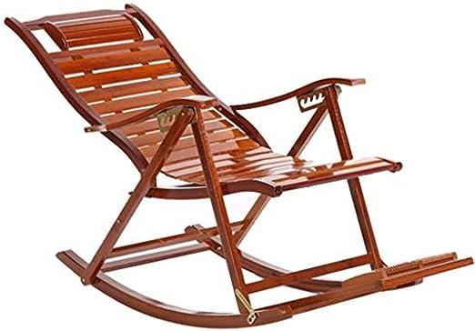 CHOME Sillones reclinables de jardín Mecedora de bambú, Sillas ...