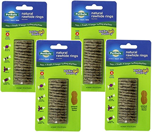 y Buddy Refill Ring Dog Treats for select Busy Buddy Dog Toys, Peanut Butter Flavored Natural Rawhide, Size A ()