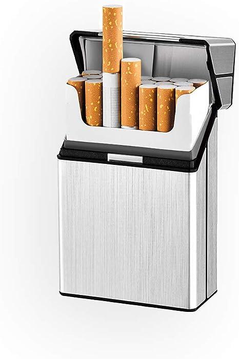 Estuche de Metal para Cigarrillos Caja con Capacidad para 20 Cigarrillos,Estuche de Almacenamiento para Tabaco,Ideal para Hombres Dorado, Azul ,2 Piezas Estuche de Aluminio para Cigarrillos