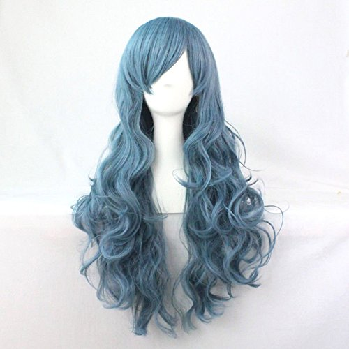 Beauty Wig World Mothers Day Blue Lolita Long Curly Wavy Fashion Hair Full Wig Anime Wigs Cosplay (Curly Blue Wig)