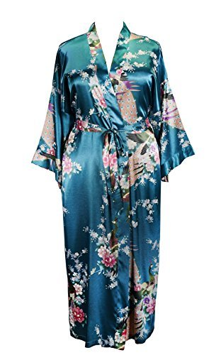 (838 - Plus Size Peacock Japanese Women Kimono Sleep Robe, US Size 1X 2X 3X ( Deep Sea)