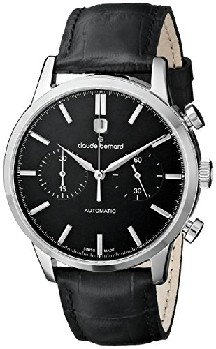 Claude Bernard Men's 08001 3 NIN Classic Automatic Chronograph Analog Display Swiss Automatic Black Watch