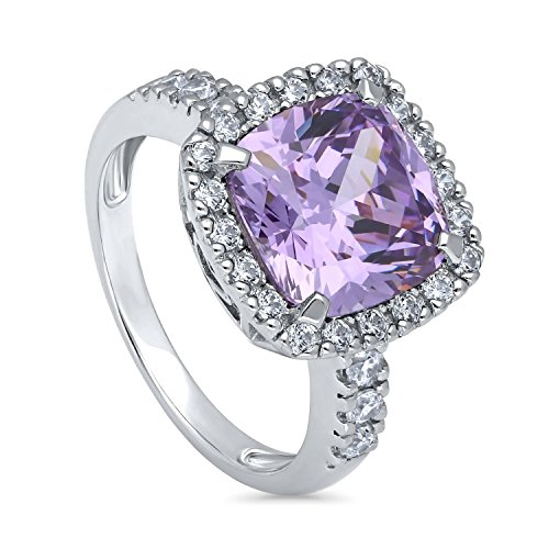 BERRICLE Rhodium Plated Sterling Silver Purple Cushion Cut Cubic Zirconia CZ Statement Halo Cocktail Fashion Right Hand Ring Size ()