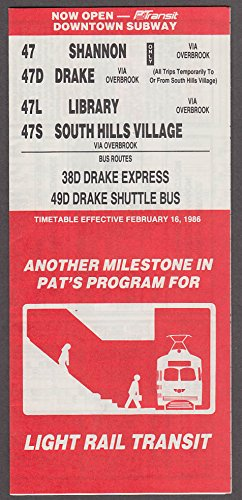 (Port Authority Allegheny Cty PATransit Bus Routes Light Rail Timetable 1986 PA)
