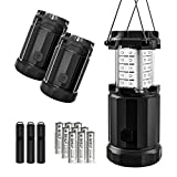 Etekcity 3 Pack Outdoor Portable LED Lantern Flashlights with 9 AA Batteries - Camping Survival Gear for Hiking, Emergencies, Hurricanes, Outages, Storms (Black, Collapsible) (Matte)