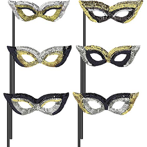 Amscan Black, Gold and Silver Masquerade Masks, Christmas and New Year's Eve Party Supplies, 6 Sequin Designs, 6 Count ()