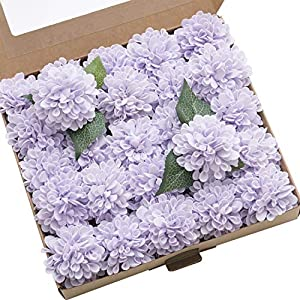 Ling's moment 25pcs Real-Looking Artificial Flowers Lilac Fake Dahlia Daisy Flower with Stem for Wedding Bridal Shower Bride's Bouquet Arrangement Decorations 51