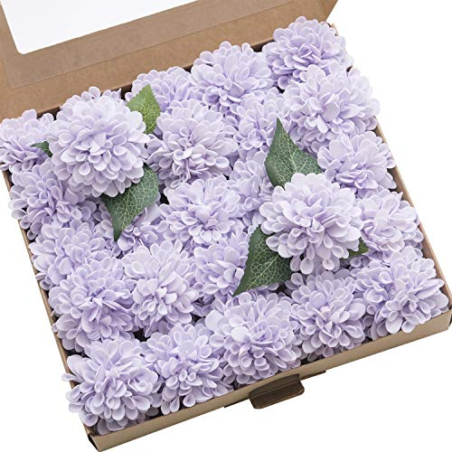 - Ling's moment 25pcs Real-Looking Artificial Flowers Lilac Fake Dahlia Daisy Flower with Stem for Wedding Bridal Shower Bride's Bouquet Arrangement Decorations