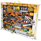 XY Toys 50-Piece Die Cast Metal Construction Playset with Trucks, Cranes, Roadblocks, Traffic Signs and Much More! (89007)