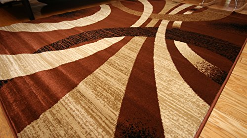 Feraghan/New City Contemporary Black Modern Wavy Circles Wool Area Rug, 8' x 10', Brown/Beige
