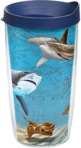 Tervis 1211557 Guy Harvey - Shark Map Tumbler with Wrap and Navy Lid 16oz, Clear ()